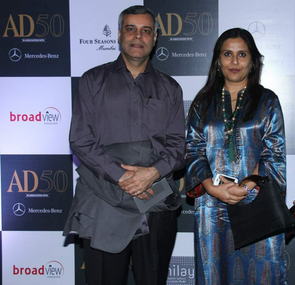 Featured on the AD50 list - Abha Narain Lambah with her husband Harsh Lambah at Architectural Digest India's 2nd Anniversary celebrations